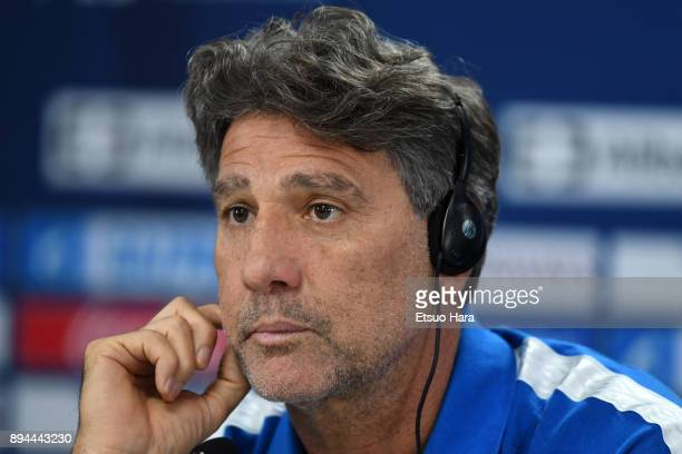 gremio head coach Renato Gaucho attends a press conference ahead of the FIFA Club World Cup UAE 2017 final match between Real Madrid and Gremio at...