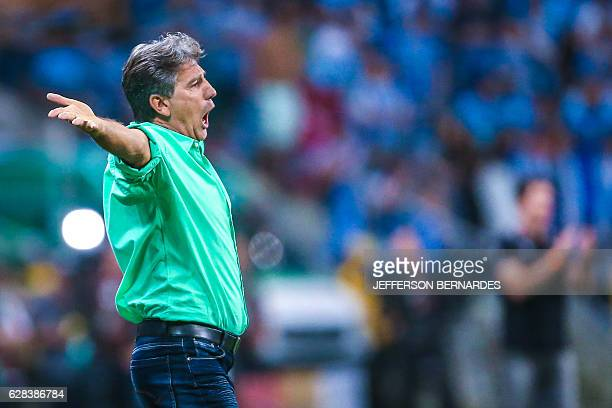 Gremio's coach Renato Gaucho gestures during the 2016 Brazil Cup final match against Atletico Mineiro at Arena do Gremio stadium on December 07 in...