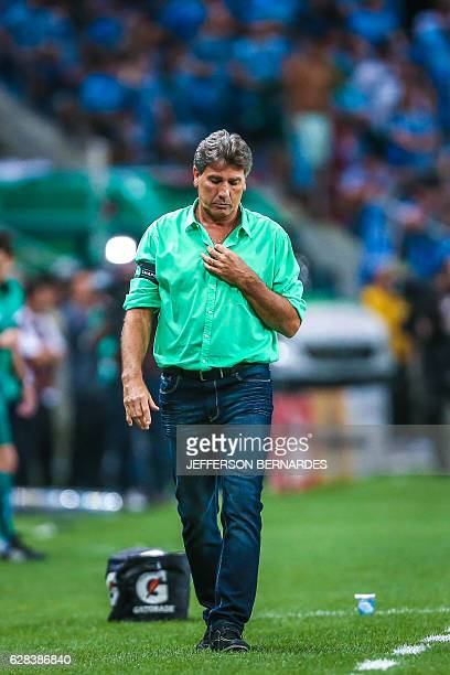 Gremio's coach Renato Gaucho is seen during the 2016 Brazil Cup final match against Atletico Mineiro at Arena do Gremio stadium on December 07 in...