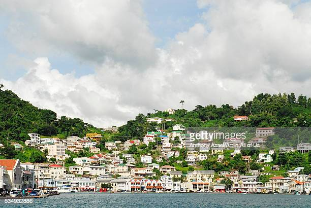 Grenada St George view over Carenage center of St George residential area and bay
