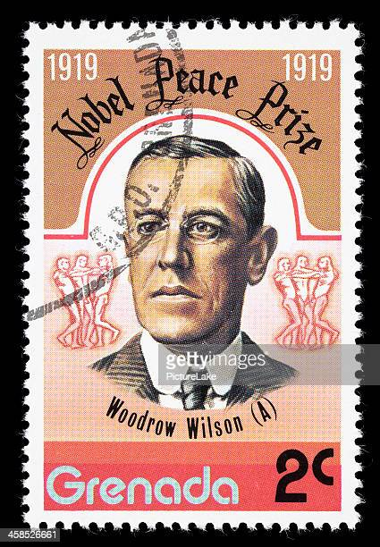 grenada woodrow wilson postage stamp - nobel prize photos stock pictures, royalty-free photos & images