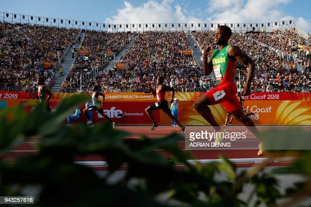 TOPSHOT Grenadas Bralon Taplin competes in the athletic's men's 400m heats during the 2018 Gold Coast Commonwealth Games at the Carrara Stadium on...