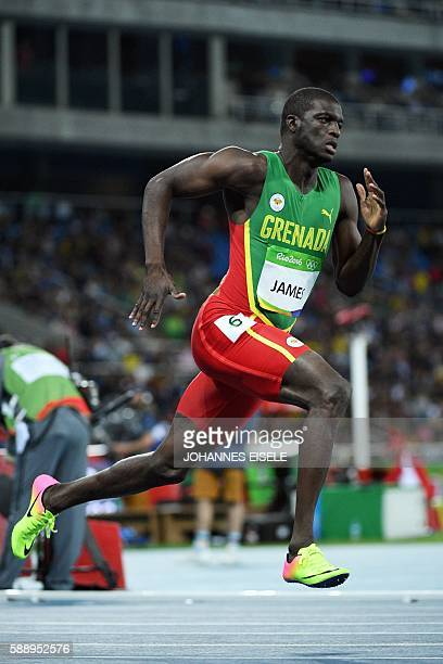 Grenada's Kirani James competes in the Men's 400m Round 1 during the athletics event at the Rio 2016 Olympic Games at the Olympic Stadium in Rio de...