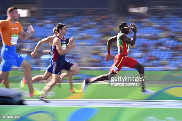 TOPSHOT Grenada's Kurt Felix competes in a Men's Decathlon 100m heat during the athletics event at the Rio 2016 Olympic Games at the Olympic Stadium...