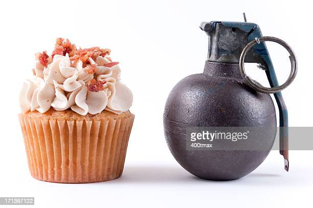 grenade and cupcake - hand grenade stock pictures, royalty-free photos & images