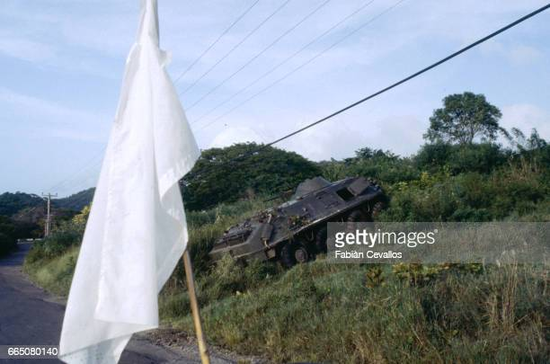 A Grenadian personnel carrier from Cuba damaged by the United States Army | Location Grenada