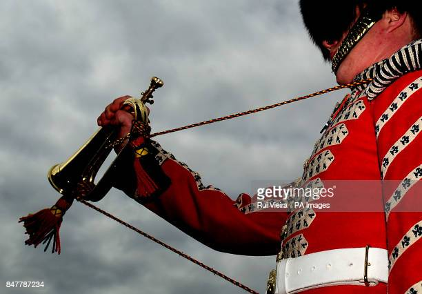 Grenadier Guard Lance Corporal George Vickers who is charged with sounding the Last Post during a memorial service on May 5 in Alcala de Guadaira for...