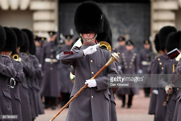 Grenadier Guards are seen at Buckingham Palace participating in ceremonial duties on November 5 2009 in London England Three Grenadier Gurardsmen...