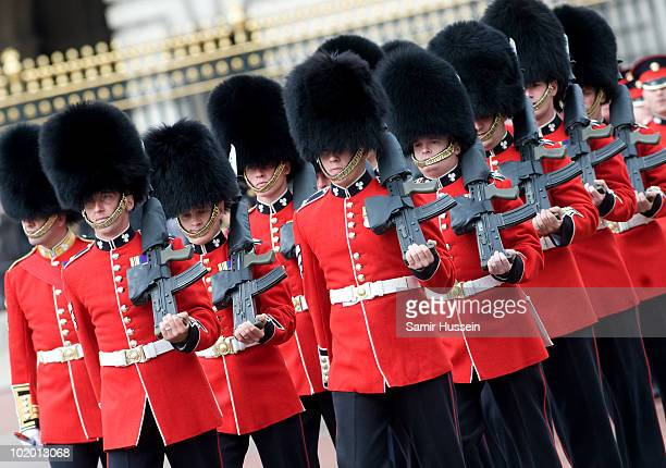 Grenadier Guards march down the Mall at Trooping The Colour on June 12 2010 in London England Trooping The Colour is the Queen's annual birthday...