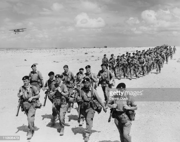 Grenadier Guards move into position near Tmimi in Libya 23rd March 1960 They are taking part in a massive joint ArmyRAF exercise known as 'Starlight'