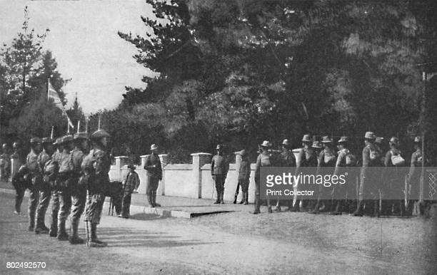 Grenadier Guards relieving guard at Lord Roberts's headquarters Pretoria' 1900 From Black White Budget Vol III [The Black and White Publishing...