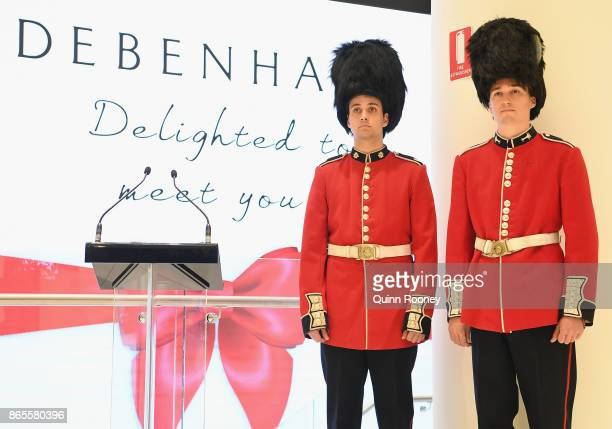 Grenadier Guards stand at the front of the store at the opening of the first Australian Debenhams store on October 24 2017 in Melbourne Australia The...