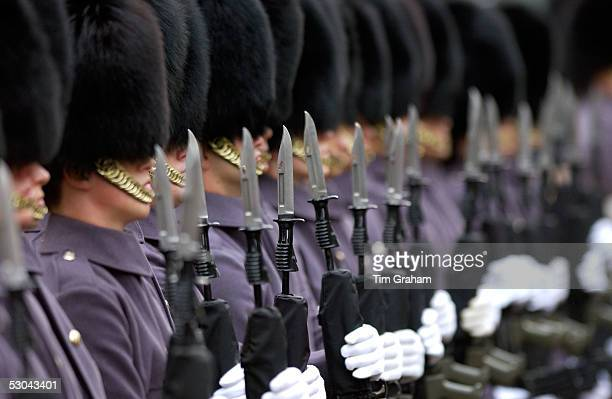 Grenadier guardson parade with bayonets on rifles, London.