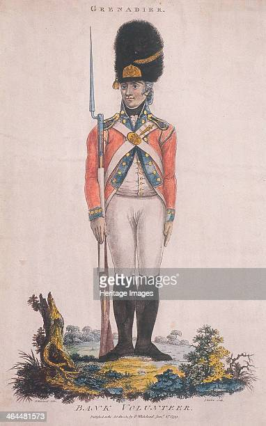 Grenadier in the Bank Volunteers holding a rifle with a bayonet attached 1799