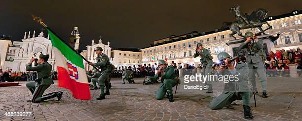 Grenadiers of Sardinia simulating a fight, San Carlo square, Turin