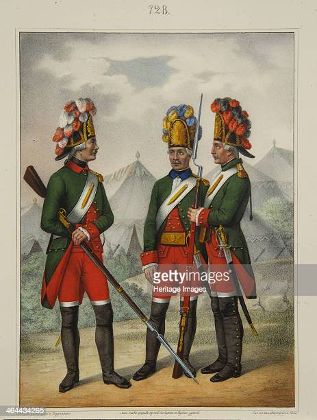 Grenadiers of the Preobrazhensky Semenovsky and Izmailovsky Regiment in 17631775 Early 1840s Found in the collection of the A Suvorov State Memorial...
