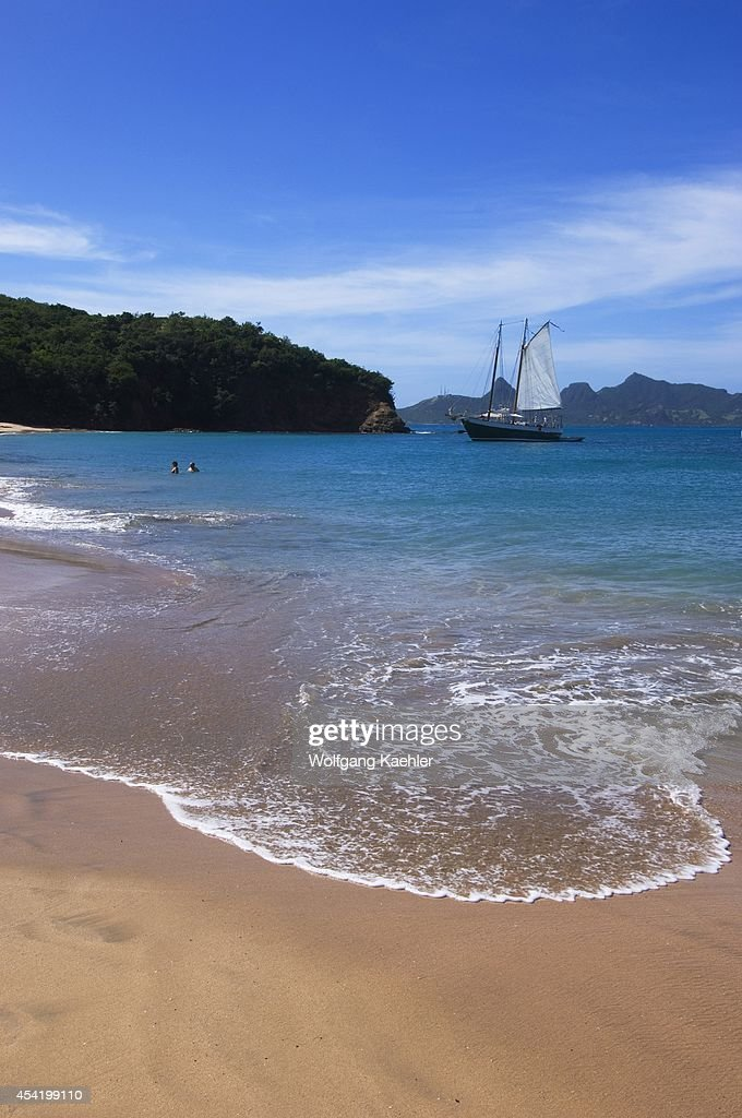 Grenadines, Mayreau Island, Beach With Sailboat.