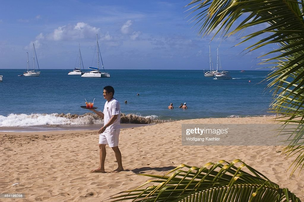 Grenadines, Mayreau Island, Waiter With Drinks.