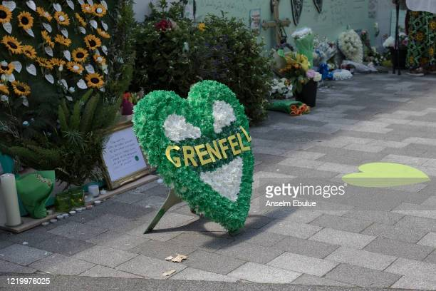 Grenfell memorial display on June 14 2020 in London England Official memorials for the 2017 Grenfell Tower fire which killed 72 people were held...