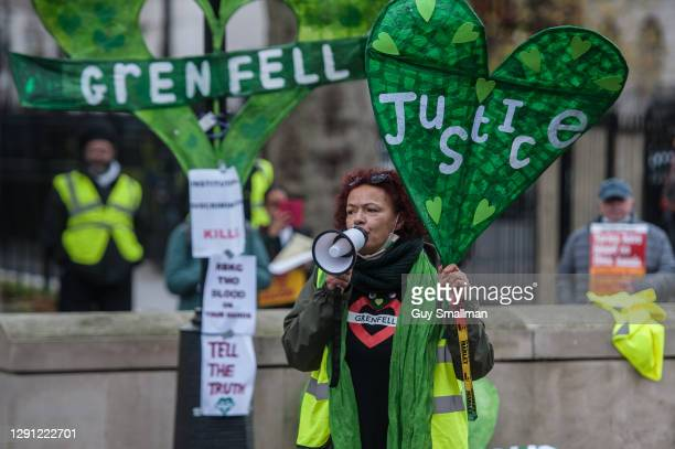 Grenfell survivors and their supporters protest at Downing street on December 14, 2020 in London, England. The protesters urged the French government...