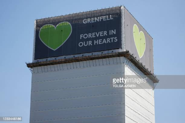 Grenfell Tower is pictured in west London on June 14 four years after a fire in the residential tower block killed 72 people. - Grenfell Tower is the...