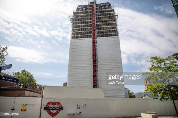 Grenfell Tower stands covered in scaffolding on May 14 2018 in London England Survivors and relatives of the victims of the Grenfell Tower fire...