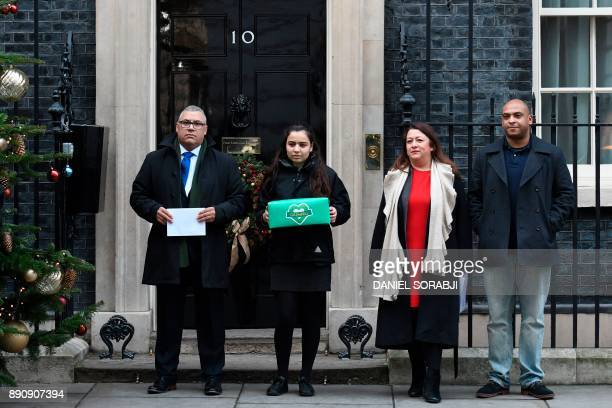 Grenfell Tower survivor Nicholas Burton, an unidentifed girl, Sandra Ruiz, whose niece died in the Grenfell Tower fire, and Karim Mussilhy , whose...