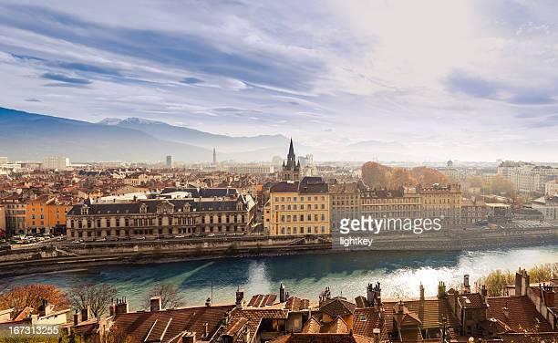 grenoble cityscape, france - grenoble stockfoto's en -beelden