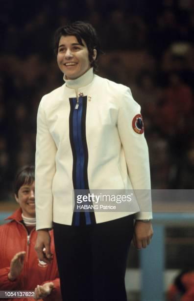 Grenoble France 13 février 1968 Les Jeux olympiques d'hiver de Grenoble 1968 La skieuse française Marielle GOITSCHEL médaille d'or au slalom spécial...