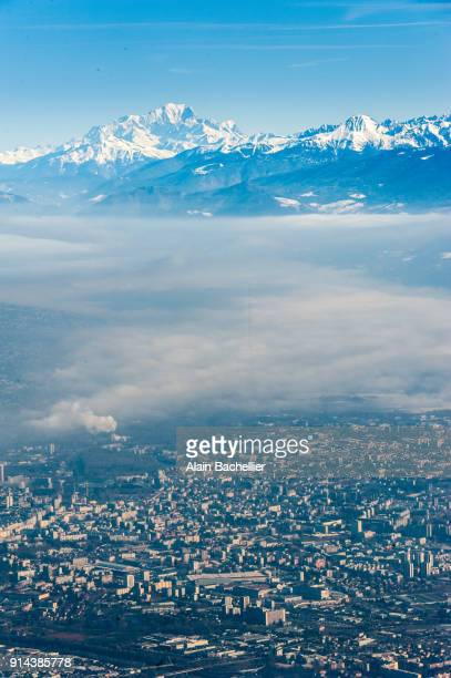 grenoble in fog2 - grenoble stock pictures, royalty-free photos & images