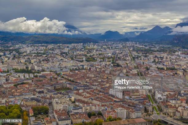 grenoble, seen from the fort de la bastille - lone pine california stock pictures, royalty-free photos & images