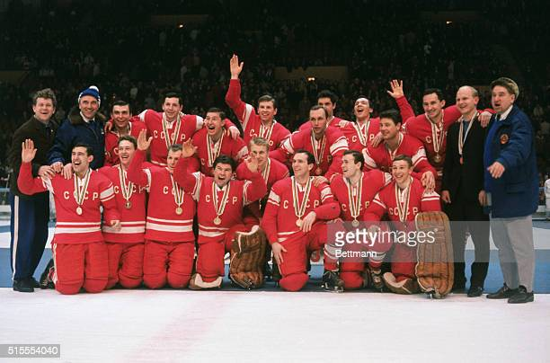 The Soviet Gold Medal winning Ice Hockey team after medal presentation here tonight They defeated Canada 50 in Olympic Final match Czechoslovakia won...