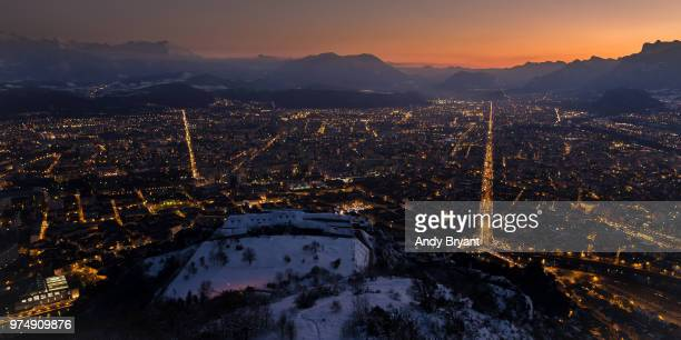 grenoble view from mont jalla at sunset in winter, grenoble, france - grenoble stock pictures, royalty-free photos & images
