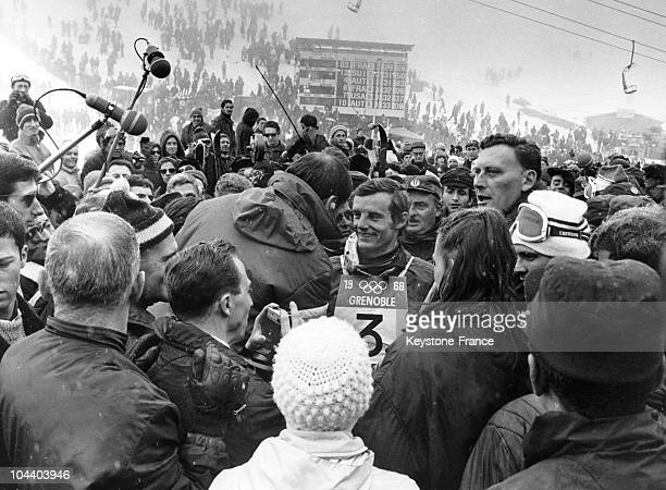 Grenoble Winter Olympics After his victory at the Giant slalom the French skier JeanClaude KILLY is surrounded by the crowd which came to cheer him...