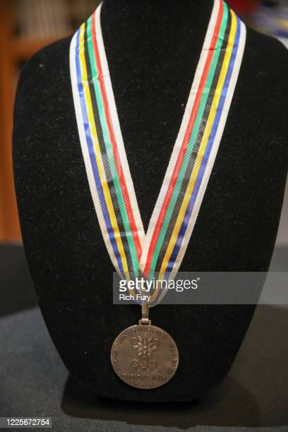 Grenoble Winter Olympics silver medal is displayed at a press preview for sports legends featuring Kobe Bryant, FIFA and Olympic Medals at Julien's...
