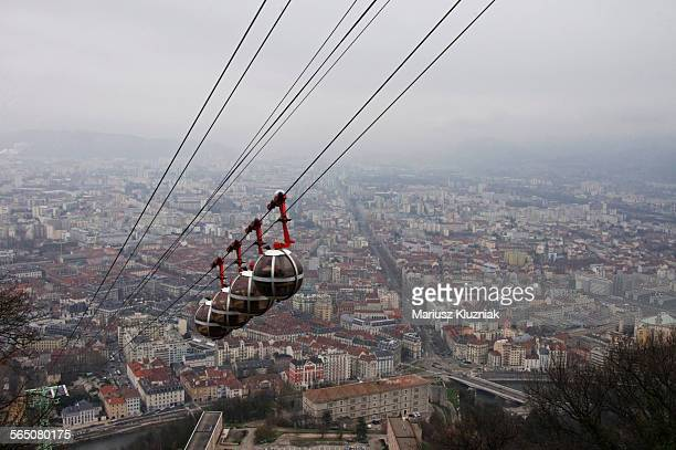 Grenoble-Bastille cable car Bubbles and city view
