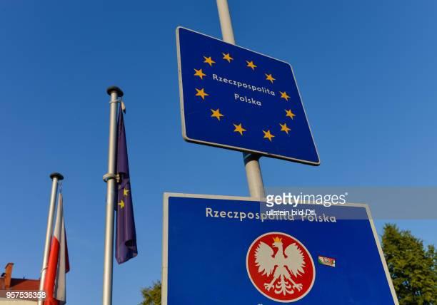 Grenze Schilder Cieszyn Polen