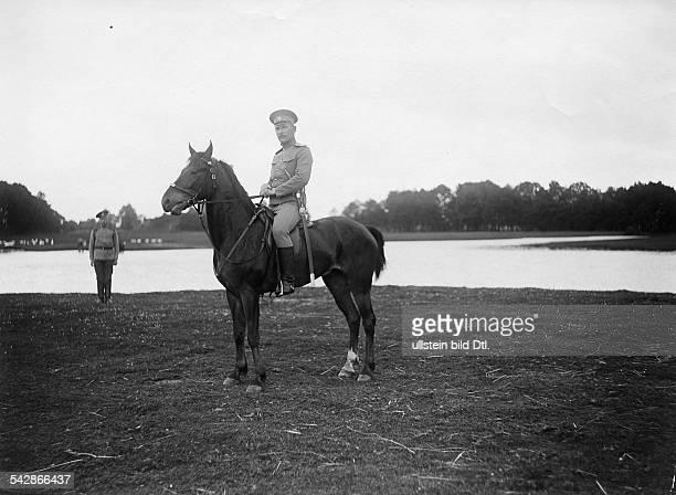 Grenzstation an der deutschrussischen Grenze Kosak Befehlshaber zu Pferde undatiert vermutlich um 1910Foto Conrad HünichFoto ist Teil einer Serie