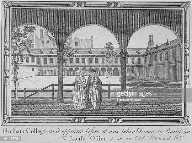 Gresham College City of London 1760 View of the courtyard in Gresham College Old Broad Street with a man and a woman in a cloister