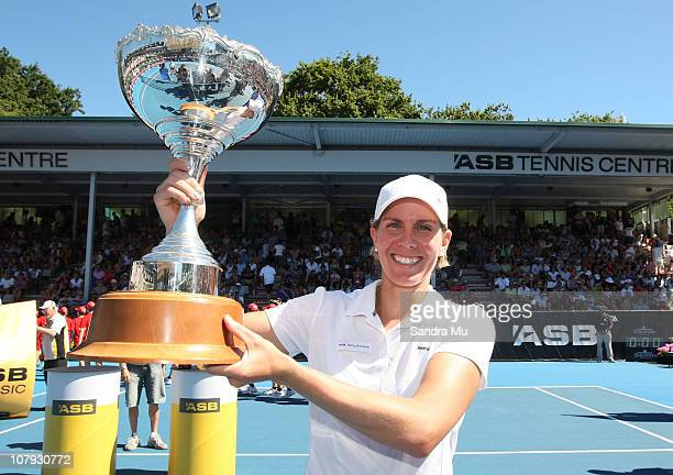 Greta Arn of Hungary holds the trophy after winning the singles final against Yanina Wickmayer of Belgium during day six of the ASB Classic at ASB...