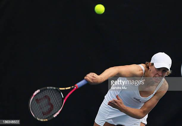 Greta Arn of Hungary serves in her match against Julia Goerges of Germany during day two of the 2012 ASB Classic at ASB Tennis Centre on January 3...