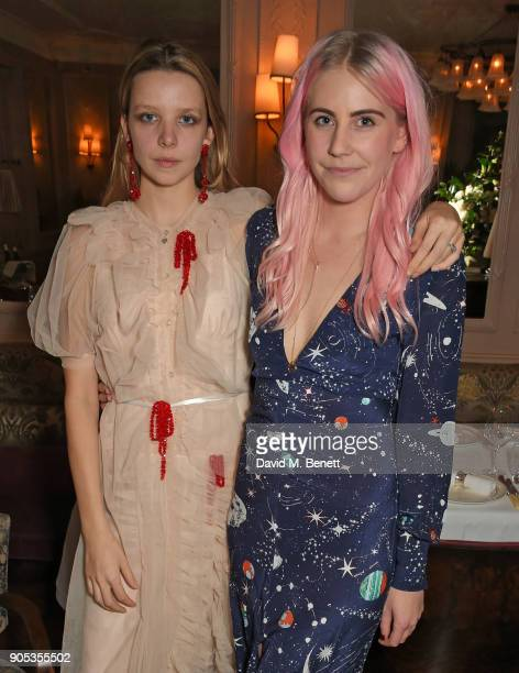 Greta Bellamacina and India Rose James attend Kettner's Townhouse preopening dinner hosted by Fawn and India Rose James on January 15 2018 in London...