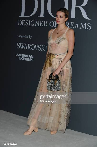 Greta Bellamacina attends the Christian Dior Designer of Dreams fashion exhibition supported by Swarovski at the VA Museum London