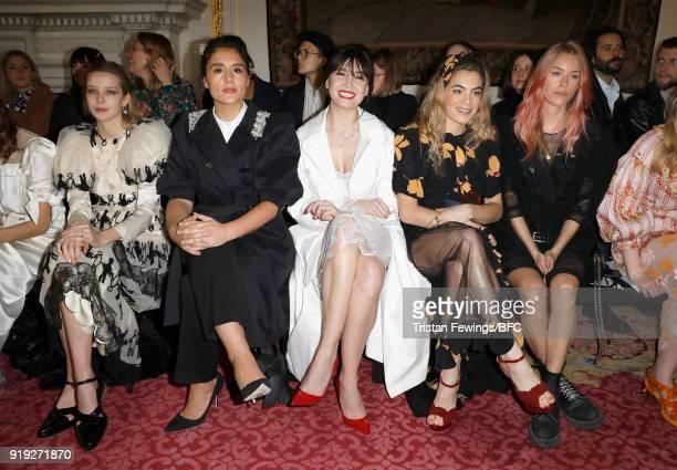 Greta Bellamacina Jessie Ware Daisy Lowe Chelsea Leyland Lady Mary Charteris and Julia CampbellGillies attend the Simone Rocha show during London...