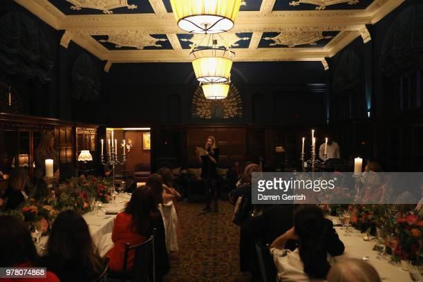 Greta Bellamacina reads a poem at The Modist Dinner at L'oscar Hotel on June 18 2018 in London England