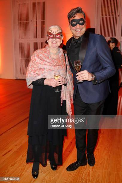 Greta Blunck and Mousse T during the Bal du Masque at Museum fuer Kunst und Gewerbe on February 3 2018 in Hamburg Germany