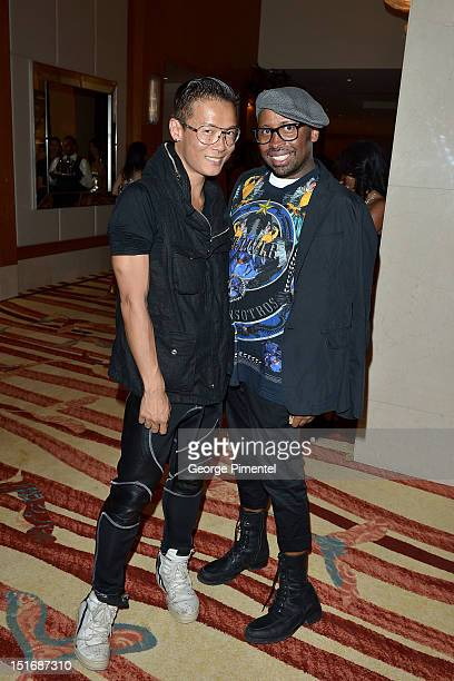 Greta Constantine designers Stephen Wong and Kirk Pickersgill attend Rising Stars Walk The Red Carpet Hello Hollywood Party during the 2012 Toronto...