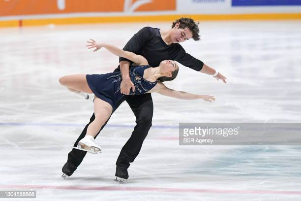 Greta Crafoord and John Crafoord of Sweden compete in the figure skating pairs free skate program on Day 4 during the Challenge Cup 2021 match...