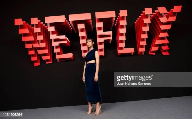 Greta Fernandez attends the red carpet during the Netflix presentation party at the Invernadero del Palacio de Cristal de la Arganzuela on April 4...