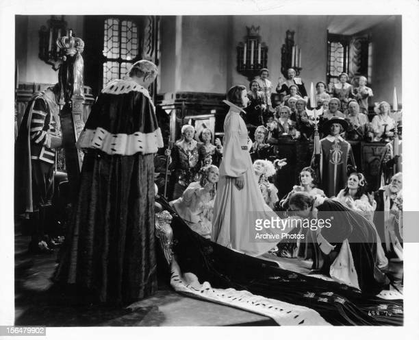 Greta Garbo is coronated in a scene from the film 'Queen Christina' 1933